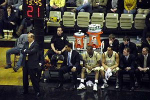Kevin Stallings - Stallings near the Commodores bench during a game