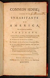 <i>Common Sense</i> (pamphlet) pamphlet by Thomas Paine