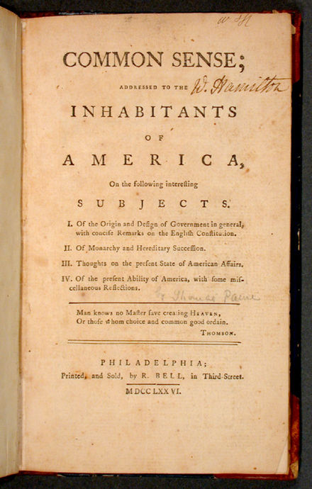 Thomas Paine's pamphlet Common Sense, published in 1776 Commonsense.jpg