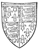 Fig. 730.—John of Gaunt, Duke of Lancaster, bore: France (ancient) and England quarterly, a label of three points ermine (i.e. each point charged with three ermine spots).