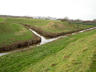 River Fender - The confluence of the Birket and Fender at Leasowe.