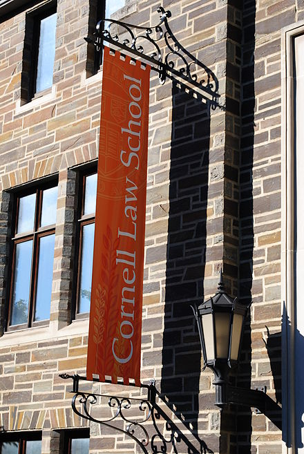 Banner outside the law school's Jane M.G. Foster wing Cornell Law banner.JPG