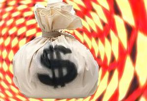 A bag of money, US dollars, spinning in a vort...