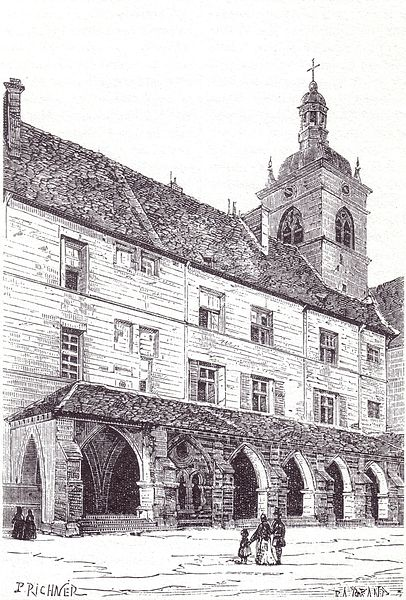 Gravure de l'abbaye de Luxeuil au XIXème siècle.