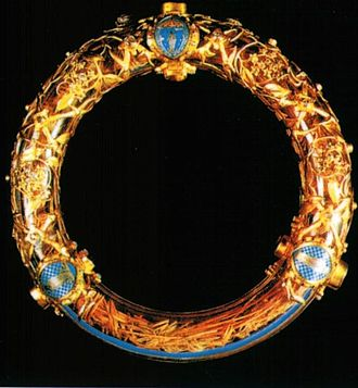 Crown of thorns - Relic of the crown of thorns, bought by Louis IX from Baldwin II. It is preserved today in Notre Dame de Paris.