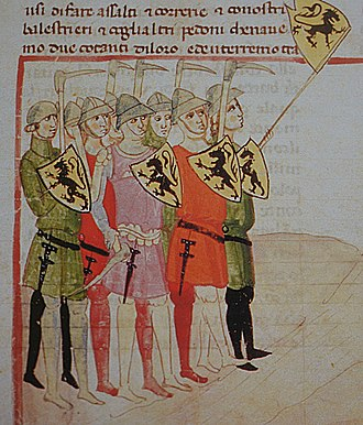 Battle of the Golden Spurs - The Flemish infantry pictured in the Florentine Nuova Cronica