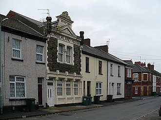 Pillgwenlly - Courtybella Terrace, a typical Pill mixture of small terraces and exuberantly decorated Victorian commercial properties