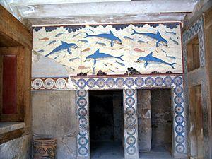 Fresco de los Delfines, en el mégaron de la Reina. Palacio de Cnosos. 1500a.C.