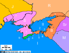 A colored political map of the Black Sea coast with locations shown with numerals and letters.