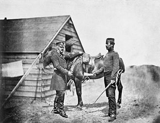 Royal Fusiliers - Lieutenant Colonel Walter Lacy Yea, Commanding Officer of the Royal Fusiliers, receives a signal from his adjutant, Lieutenant J. St. Clair Hobson, Royal Fusiliers, both killed at Sevastopol 18 June 1855