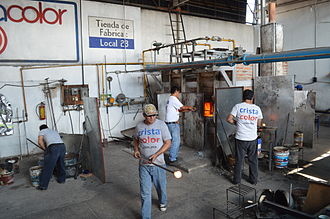 Cristacolor glass blowing workshop in Tonala Cristacolor48.JPG