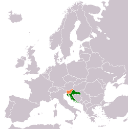 Map indicating locations of Croatia and Slovenia