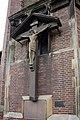 Crucifix outside base of tower of St Agatha, Sparkbrook.jpg