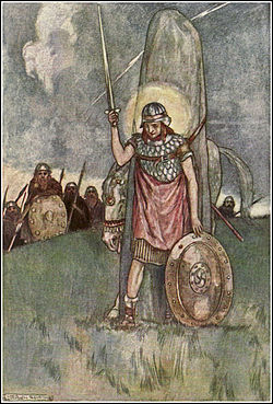 Cuchulainn's death, illustration by Stephen Reid 1904.jpg