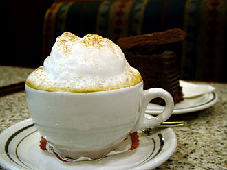 Italian meal structure - A typical cup of cappuccino at breakfast.