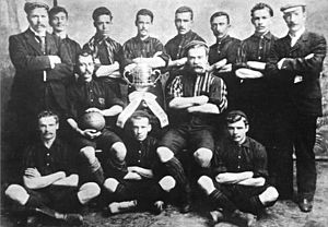 Central Uruguay Railway - The Central Uruguay Railway Cricket Club (CURCC) took the name of the company. Pictured, the 1900 football team, posing with the cup won