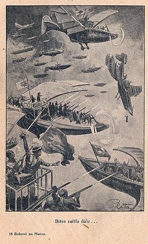 The Gods of Mars - Illustration of a flier battle, by V. Čutta, from the Czech edition of 1928, publisher Ladislav Šotek, Prague.