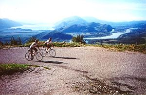 Col du Grand Colombier - Cyclists ascending the pass