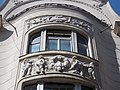 Cylindrical balcony. The central part of the facade. Relief. - 71, Váci Street, Budapest District V, Hungary.JPG