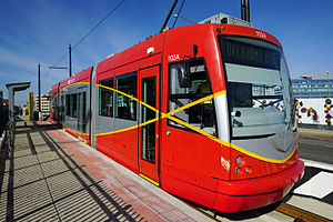 DC Streetcar - DC Streetcar at Union Station stop at the end of the H Street NE line.