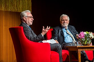 Wolf Blitzer - Blitzer and Ted Turner at the LBJ Auditorium in Austin, TX