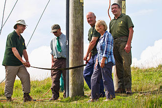 Dartmoor Preservation Association - Walkhampton Common pylons during undergrounding, posing with a cross-cut saw for the local press