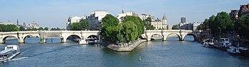 The Pont Neuf, the oldest surviving bridge over the Seine in Paris, and the Île de la Cité today