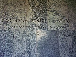 Dag Hammarskjöld Library - Etched-on-marble entrance sign