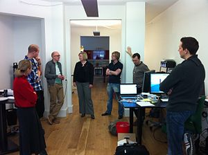 Scrum (software development) - A daily scrum in the computing room. This centralized location helps the team start on time.