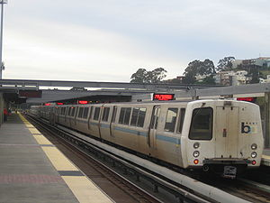 Bay Area Rapid Transit rolling stock - Exterior of a BART train consisting of C cars at Daly City station