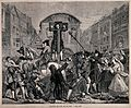 Daniel Defoe is standing in the pillory while soldiers have Wellcome V0041680.jpg