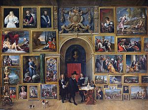 Archduke Leopold Wilhelm of Austria - Gallery of the Archduke Leopold Wilhelm in Brussels; by David Teniers the Younger, 1651