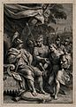 David with the head of Goliath before Saul. Line engraving b Wellcome V0007110.jpg
