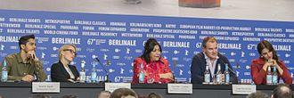 Viceroy's House (film) - Manish Dayal, Gillian Anderson, Gurinder Chadha, Hugh Bonneville and Huma Qureshi at the 67th Berlin International Film Festival