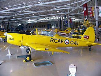 De Havilland Canada DHC-1 Chipmunk - A former RCAF de Havilland DHC-1B-2-S5 Chipmunk with the Canadian-style bubble canopy in the Canadian Warplane Heritage Museum, Hamilton, Ontario