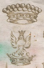Comital ephemera: a Count's coronet and crest on a doily. DeSalisClothBellonna.jpg