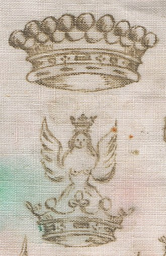 Count - Comital ephemera: a Count's coronet and crest on a doily.