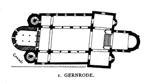 Saint Cyriakus, Gernrode - Plan of the church showing the shift in axis between the eastern and western parts.