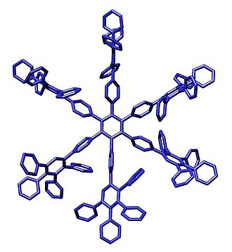 Dendrimer - Crystal structure of a first-generation polyphenylene dendrimer reported by Müllen et al.