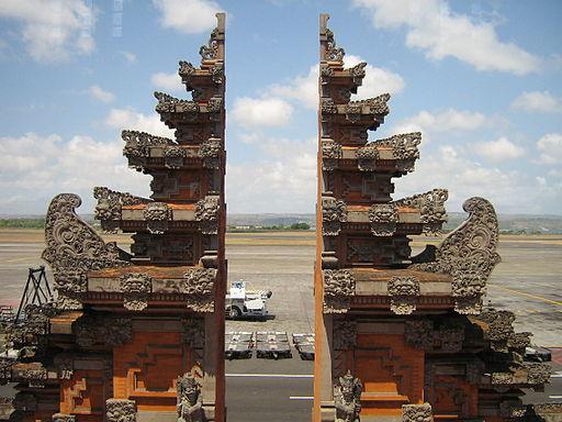 Denpasar airport balinese gate