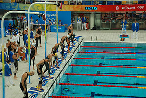 Swimming (sport) - Start of the 4 × 100 meters relay during the 2008 Summer Olympics in Beijing