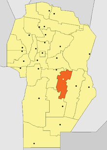 Location of General San Martín Department in Córdoba Province