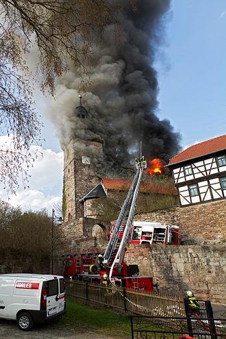 Walldorf, Thuringia - The burning of Kirchenburg Walldorf, April 2012