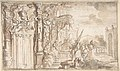 Design for a Stage Set- Solomon Receiving the Queen of Sheba under a Baldacchino, with Fantastical Architecture and a Gardenscape. MET DP808017.jpg