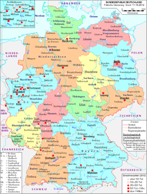 List Of Cities And Towns In Germany Wikipedia - Germany map with major cities