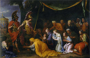 Sisygambis - The family of Darius in front of Alexander, by Charles le Brun. Sisygambis (in yellow) kneels before the king