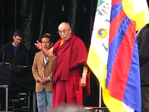 Flag of Tibet - The 14th Dalai Lama with Tibet's flag in Zurich, Switzerland 10 April 2010