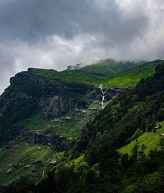 A distant waterfall on way to Malana village, Himachal Pradesh