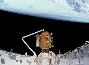 STS-74 - The Mir Docking Module, positioned in Atlantiss payload bay, ready to be docked to the Kristall module of space station Mir