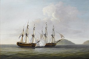 Dominic Serres - Captain George Montagu of the 'Pearl', 32 guns, engaging the Spanish frigate 'Santa Monica' off the Azores, 14th. September 1779.jpg